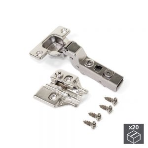 Batch of 20 X91N inset hinges with 100º opening and plates for screwing with eccentric adjustment