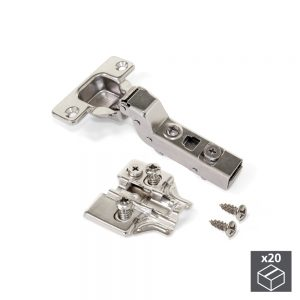 Batch of 20 X91N Inset hinges with 100º opening and Euro plates with eccentric adjustment