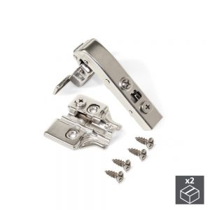 Batch of 2  90º X91 angular arm Emuca hinges with soft close and plates for screwing with eccentric adjustment
