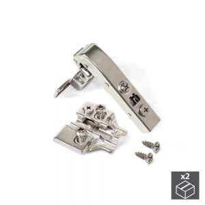 Batch of 2 90º X91 angular arm Emuca hinges with 110º and Euro plates with eccentric adjustment