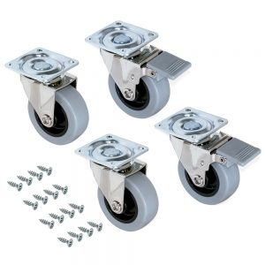 Kit of 4 Slip 2 Emuca wheels D. 75 mm with assembly plate and ball bearing