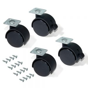 Kit of 4 Emuca wheels for drawer unit D. 50 mm with assembly plate and ball bearing