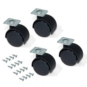 Kit of 4 Emuca wheels for drawer unit D. 30 mm with assembly plate and ball bearing