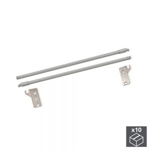 Batch of 10 sets of Ultrabox Emuca rails for drawers with a depth of 350 mm in a metallic grey colour