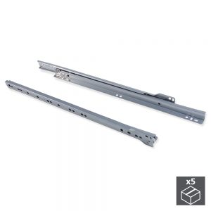 Batch of 5 sets of T30 runners for partial extraction drawers L 450 mm in metallic grey colour