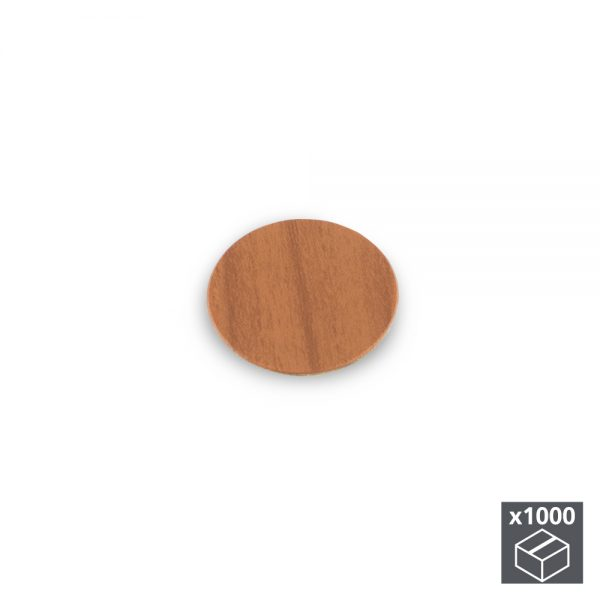 Batch of 1000 Emuca D. 13 mm adhesive covers with a cherry wood effect finish