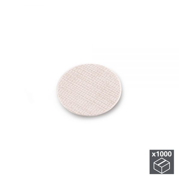 Batch of 1000 Emuca D. 13 mm adhesive covers with a textile effect beige finish