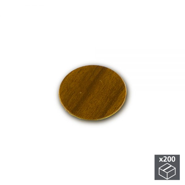Batch of 200 Emuca D. 13 mm adhesive covers with a brown finish