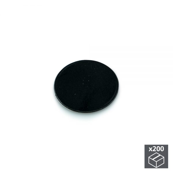 Batch of 200 Emuca D. 13 mm adhesive covers with a black finish