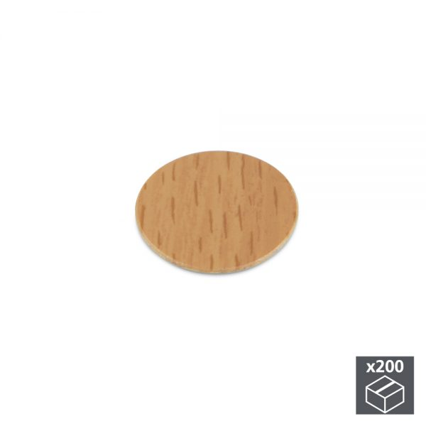 Batch of 200 Emuca D. 13 mm adhesive covers with a beech effect finish