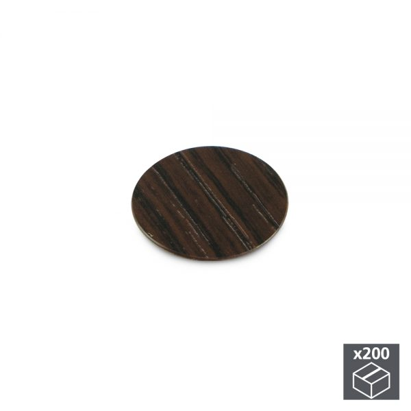 Batch of 200 Emuca D. 13 mm adhesive covers with a wenge effect finish