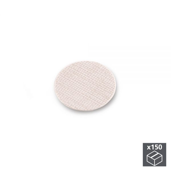 Batch of 150 Emuca D. 20 mm adhesive covers with a textile effect beige finish