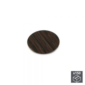 Batch of 150 Emuca D. 20 mm adhesive covers with a wenge effect finish