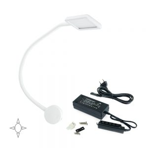 Set of 1 square-shape LED light Kuma Emuca with flexible arm and 2 USB ports in white colour