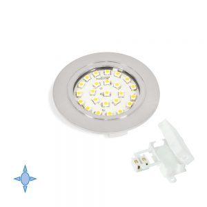 Emuca Crux-in LED light bulb with cool white light for embedding in painted Metal-grey