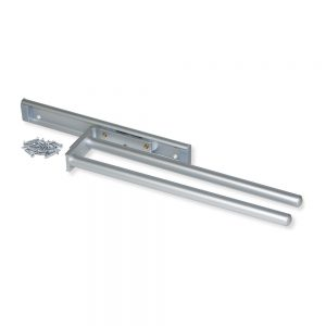 Emuca extendable towel rail with 2 arms 310 mm length made from anodised matte aluminium