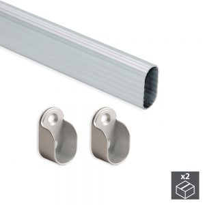 Kit of 2 30x15 mm aluminium tubes that are 950 mm long and Emuca supports for wardrobes