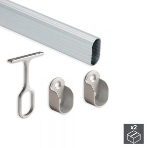 Kit of 2 30x15 mm aluminium tubes that are 1.400 mm long and Emuca supports for wardrobes