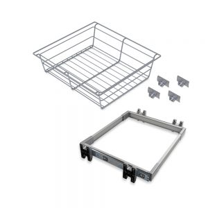 Emuca Keeper runner and metal drawer kit for 800 mm unit in a matte anodised finish