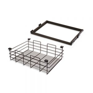 Emuca Moka runner and wire drawer kit for 600 mm unit in a moka painted finish