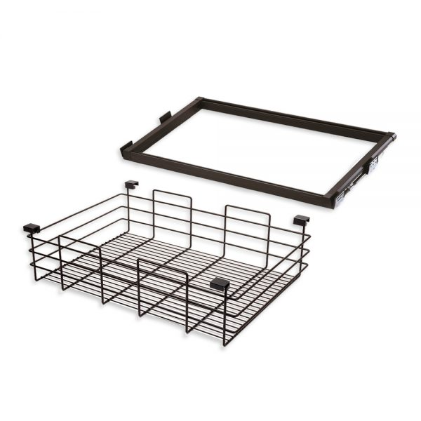 Emuca Moka runner and wire drawer kit for 900 mm unit in a moka painted finish