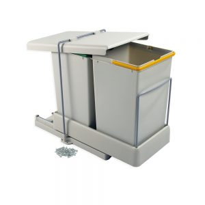 Emuca recycling containers for bottom fastening and automatic extraction with 2 14-litre containers