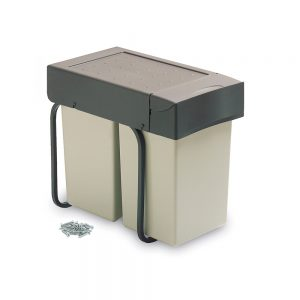 Emuca recycling container for bottom fastening and manual extraction with 2 14-litre containers and an automatic lid
