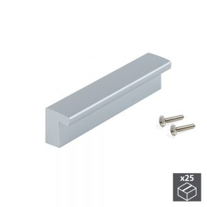 Batch of 25 Emuca Bari furniture handle made from ABS plastic with a painted metal-grey with 96 mm interaxis