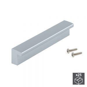 Batch of 25 Emuca Bari furniture handle made from ABS plastic with a painted metal-grey with 128 mm interaxis