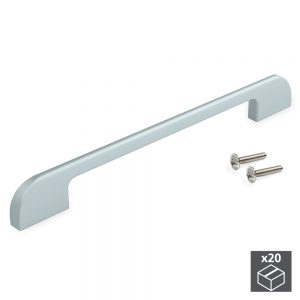 Batch of 20 Emuca Bristol furniture handles made from aluminium with a matte anodised finish with 256 mm inter-axis