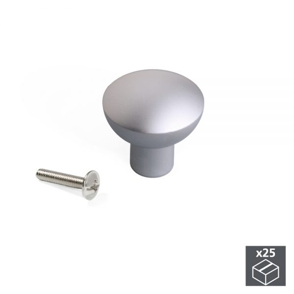 Batch of 25 Emuca Verona knobs for furniture made from aluminium with a matte anodised finish