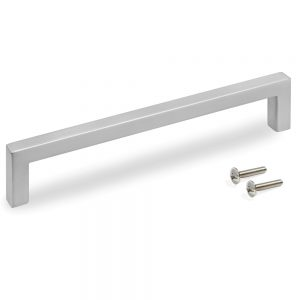 Emuca Habana furniture handle made from zamak with a satin nickel finish with 160 mm interaxis