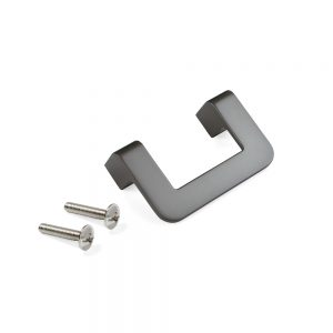 Emuca Nagoya furniture handle made from zamak with a titanium colour finish with 64 mm interaxis