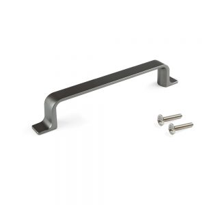 Emuca Kobe handle for furniture made from zamak with a titanium colour finish with 96 mm interaxis